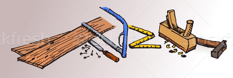 Carpinteiro ferramentas madeira marcenaria martelo vários Foto stock © nikdoorg