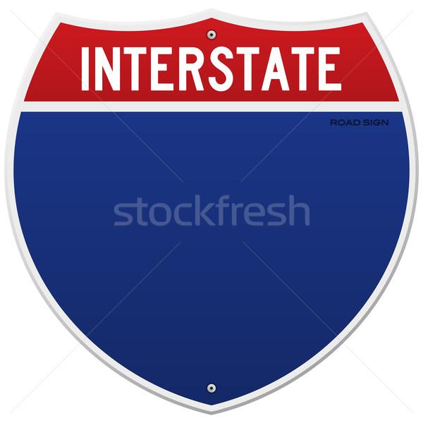Yalıtılmış eyaletler arası imzalamak amerikan mavi kırmızı Stok fotoğraf © nikdoorg