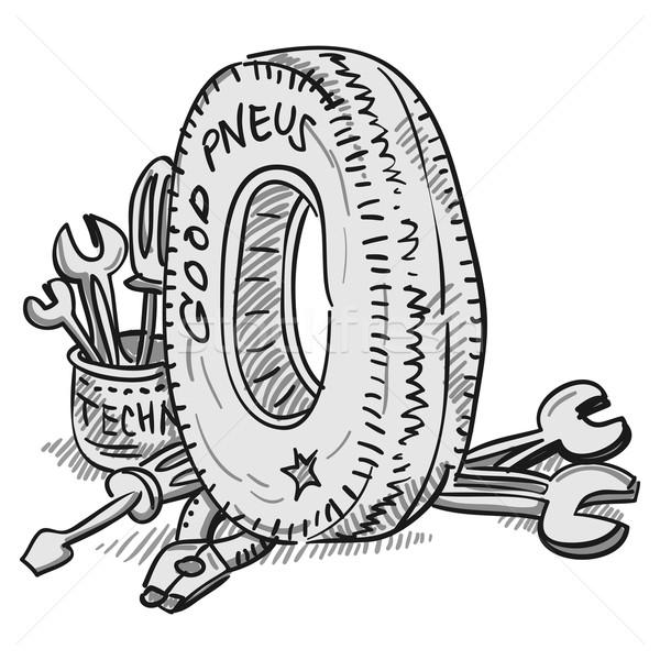 Car Tire and Tools  Stock photo © nikdoorg