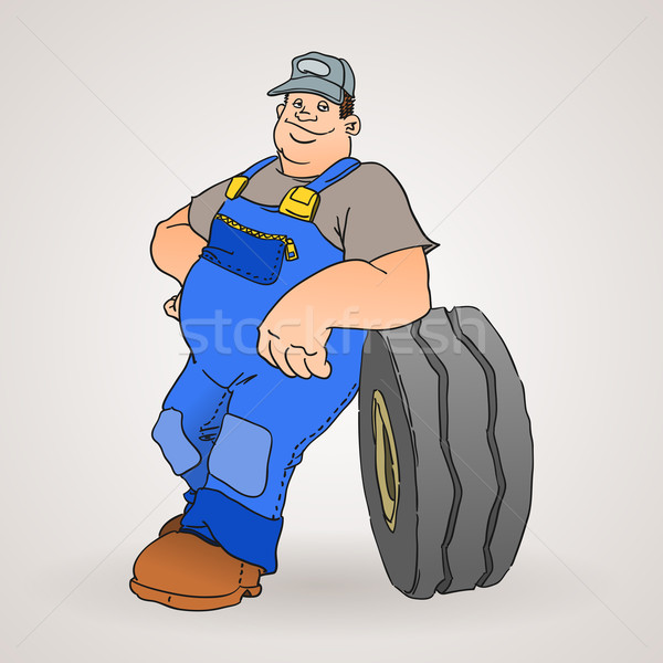 Voiture mécanicien pneumatique professionnels travailleur bleu Photo stock © nikdoorg
