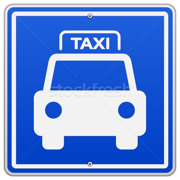 Taxi Blauw teken illustratie symbool vierkante Stockfoto © nikdoorg