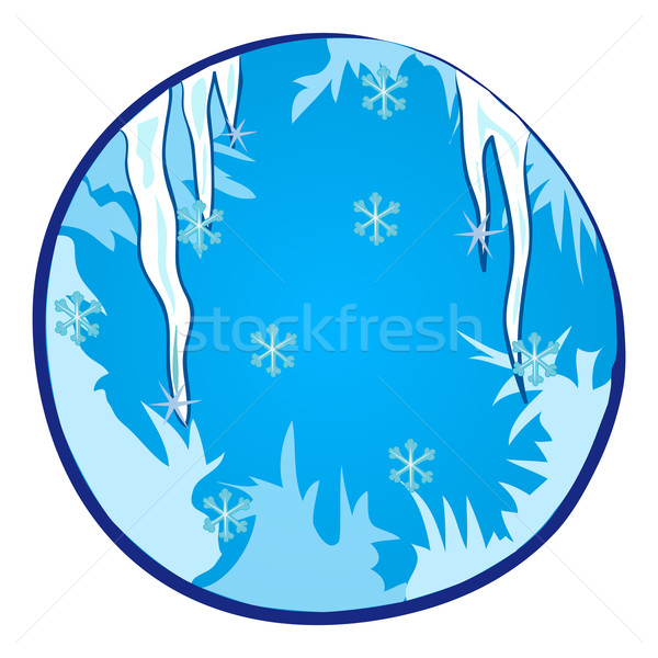 Temporada de inverno janela branco neve azul natal Foto stock © nikdoorg