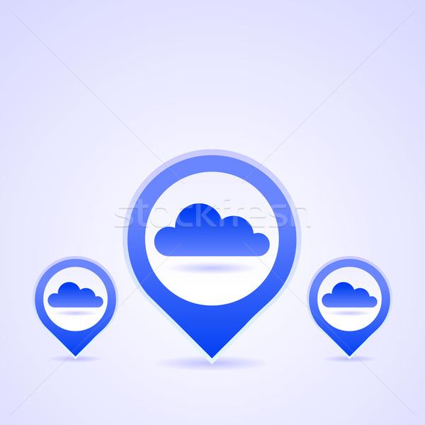 Niebieski chmura icon zestaw Chmura wektora Zdjęcia stock © nikdoorg