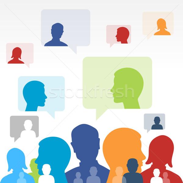 Médias sociaux communication discours symboles ordinateur internet Photo stock © nikdoorg
