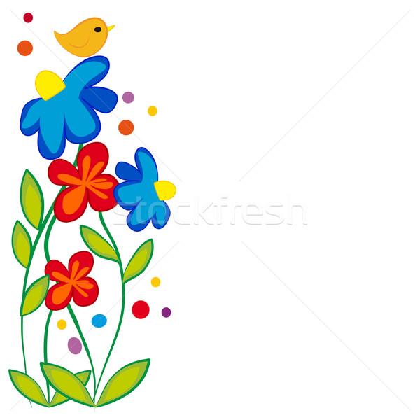 üdvözlet virág terv virágmintás szimbólum kártya Stock fotó © nikdoorg