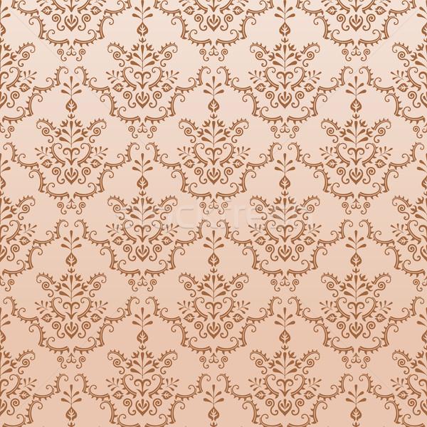 Gouden naadloos damast patroon vector ingesteld Stockfoto © nikdoorg