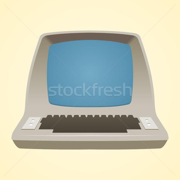 Vieux ordinateur rétro suivre isolé blanche Photo stock © nikdoorg