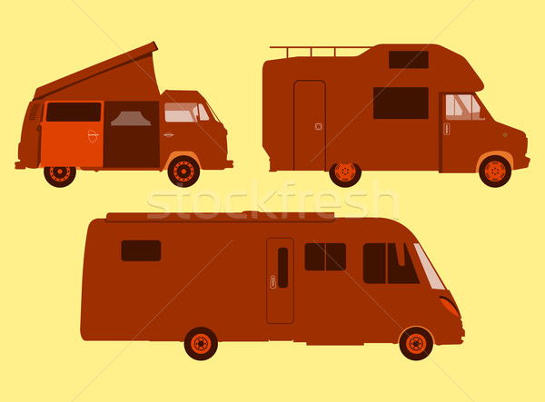 Photo stock: Silhouette · orange · illustration · trois · voiture · modèle