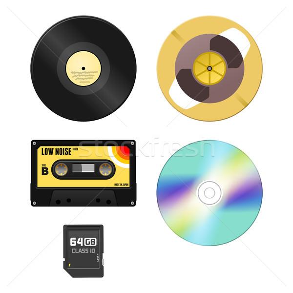 Muziek media audio cassette grammofoon schijf Stockfoto © nikdoorg