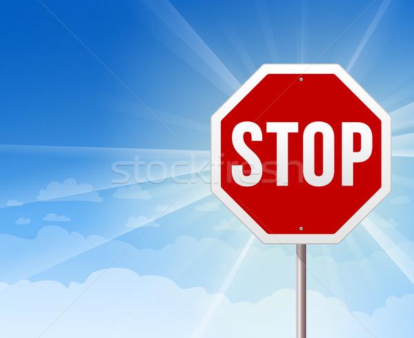 Foto stock: Pare · blue · sky · ilustração · vermelho · sinal · de · parada