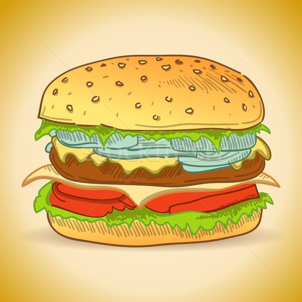 Savoureux Burger classique cheeseburger boeuf laitue Photo stock © nikdoorg