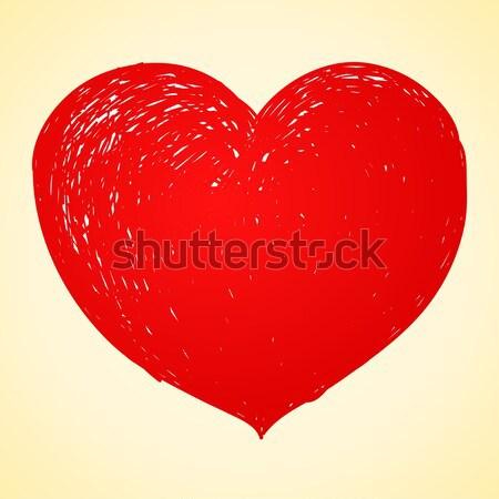 Stockfoto: Rood · hart · tekening · Valentijn · dag · abstract
