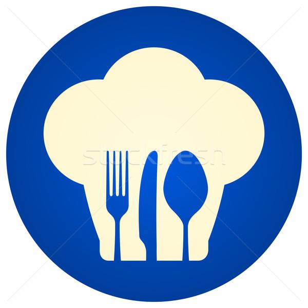 Kék szakács sapka szimbólum illusztráció ikon villa Stock fotó © nikdoorg