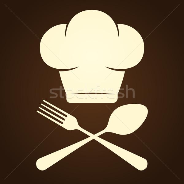 Chef símbolo talheres marrom garfo Foto stock © nikdoorg