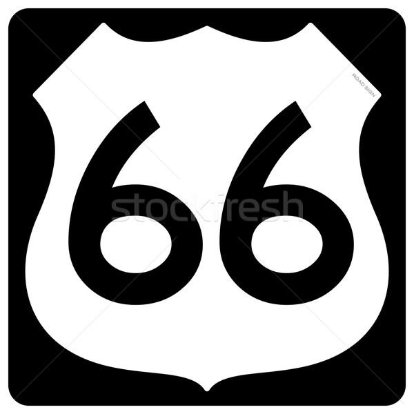 Route 66 szimbólum hagyományos útjelzés forma feketefehér Stock fotó © nikdoorg