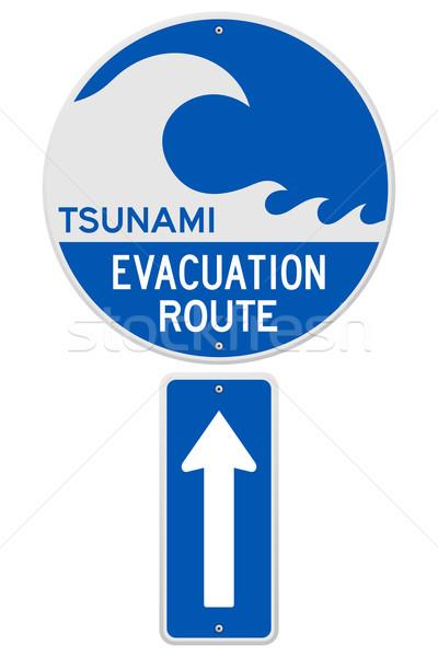 Tsunami rota azul branco assinar mar Foto stock © nikdoorg