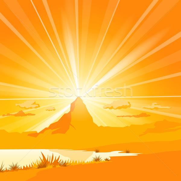 Foto stock: Montanha · lago · laranja · pôr · do · sol · paisagem