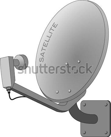 Antena satelitarna ilustracja odizolowany biały działalności telewizji Zdjęcia stock © nikdoorg