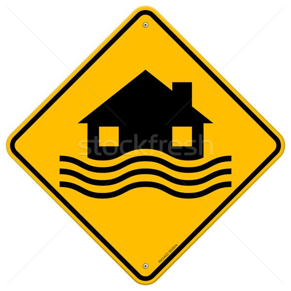 Inondations catastrophe jaune signe maison vagues Photo stock © nikdoorg