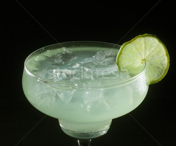 Kokteyl cam siyah gıda arka plan limon Stok fotoğraf © NikiLitov