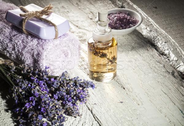 Spa lavanta havlu şişeler aromaterapi Stok fotoğraf © NikiLitov