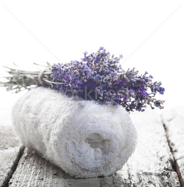 Spa lavanta havlu beyaz ahşap Stok fotoğraf © NikiLitov