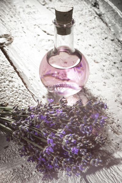 Spa lavanta şişe aromaterapi yağ Stok fotoğraf © NikiLitov