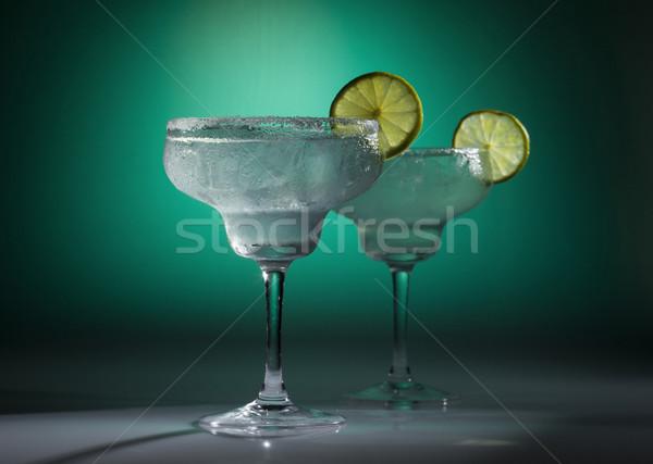Kokteyl iki gözlük yeşil gıda cam Stok fotoğraf © NikiLitov