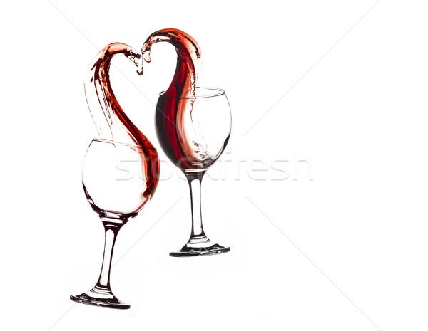 şarap kalp iki gözlük soyut Stok fotoğraf © NikiLitov