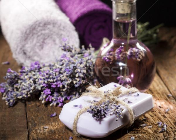 Spa lavanta havlu şişe aromaterapi Stok fotoğraf © NikiLitov