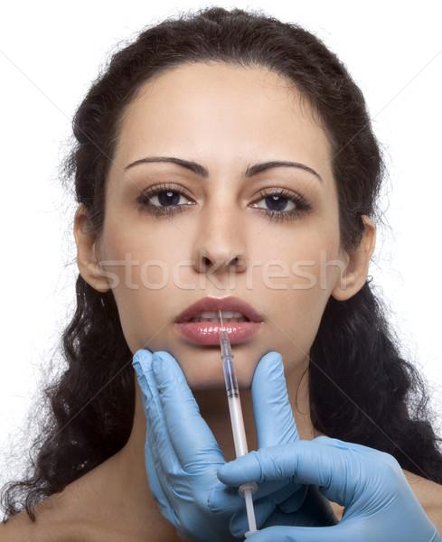 Kadın şırınga tedavi botox kollajen eller Stok fotoğraf © NikiLitov