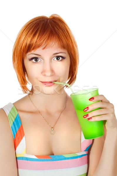 Red woman with drink Stock photo © nikitabuida