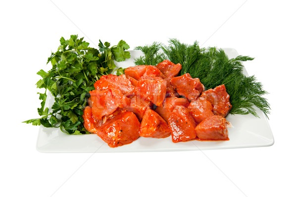 Сток-фото: кебаб · пластина · зеленый · Салат · свежие · еды