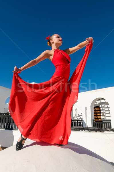 Rouge flamenco danseur séduisant traditionnel Photo stock © nikitabuida