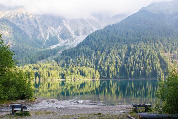 озеро Альпы облака природы снега горные Сток-фото © nikkos
