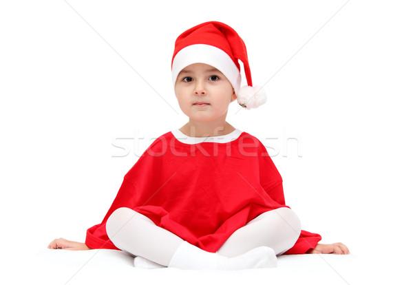 ребенка Дед Мороз Hat сидят белый фон Сток-фото © nikkos