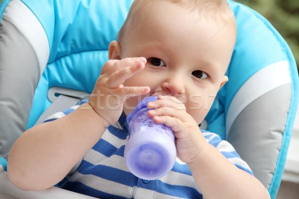 мало мальчика ребенка молоко портрет обеда Сток-фото © nikkos
