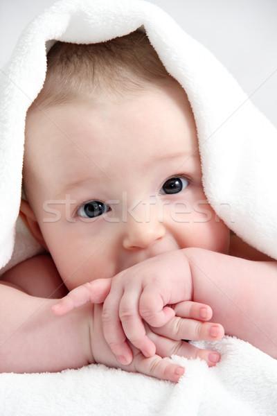 Güzel çocuk beyaz battaniye bebek yüz Stok fotoğraf © nikkos