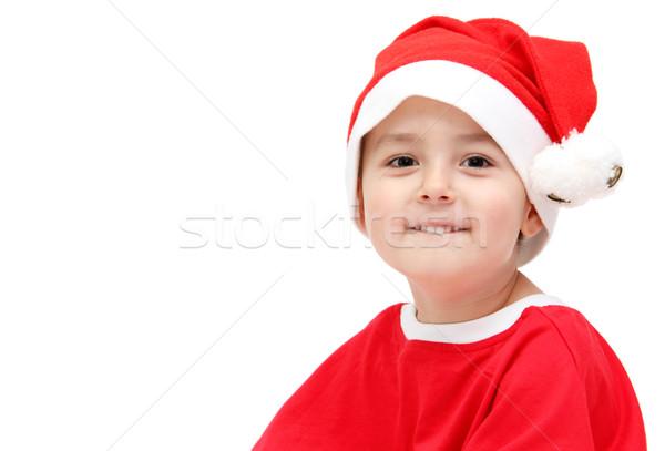 ребенка Дед Мороз Hat фон портрет красный Сток-фото © nikkos