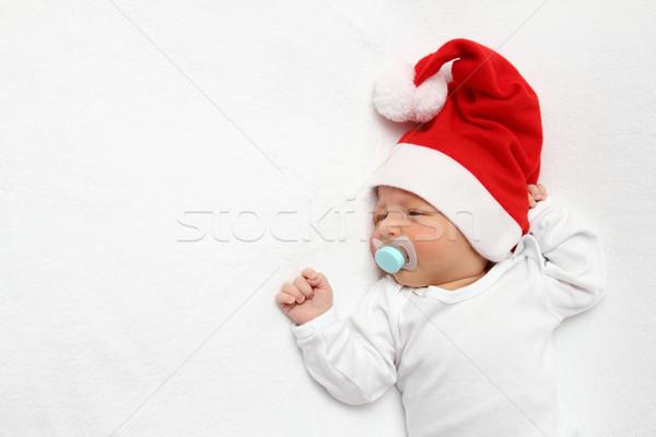 ребенка Дед Мороз Hat красивой лице ребенка Сток-фото © nikkos