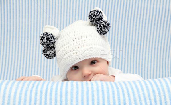 ребенка трикотажный Hat белый ребенка красоту Сток-фото © nikkos
