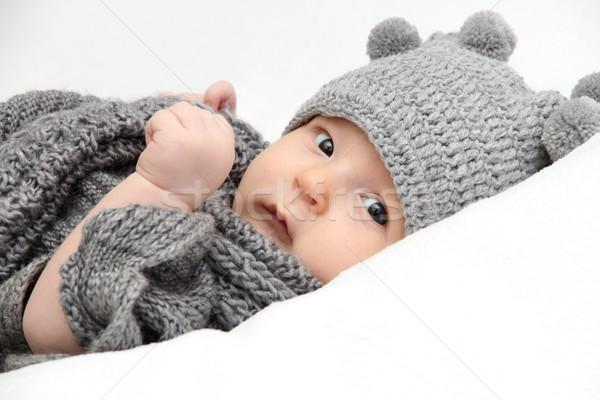 ребенка серый Hat красивой трикотажный глаза Сток-фото © nikkos