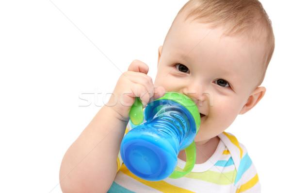 ребенка молоко бутылку счастливым весело портрет Сток-фото © nikkos