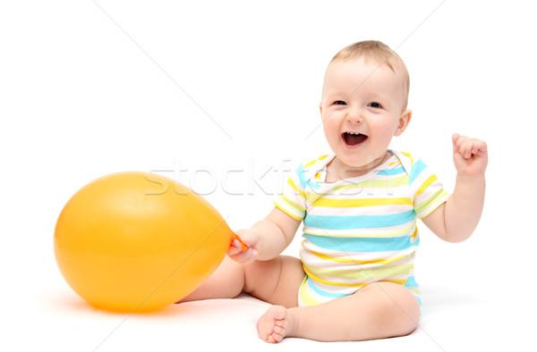 счастливым ребенка шаре рождения фон портрет Сток-фото © nikkos
