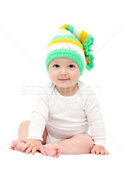 Gülen bebek oturma yatak gülümseme yüz Stok fotoğraf © nikkos