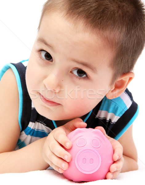 ребенка Piggy Bank бизнеса деньги счастливым Сток-фото © nikkos