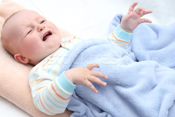 мало ребенка плачу кровать лице печально Сток-фото © nikkos