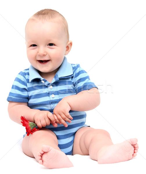 мало ребенка смеясь цветок ребенка улыбка Сток-фото © nikkos