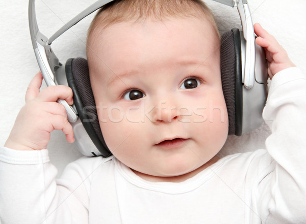 ребенка прослушивании музыку назад образование мальчика Сток-фото © nikkos