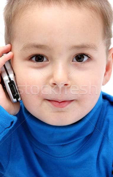 ребенка сотового телефона улыбка телефон синий мобильных Сток-фото © nikkos